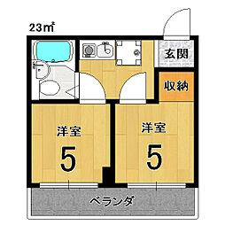 アメニティー京都2番館[2B号室]の間取り