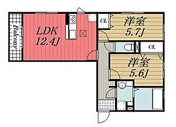 D-roomちはら台 H 3階2LDKの間取り