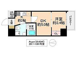 No77HANATEN002 13階1DKの間取り