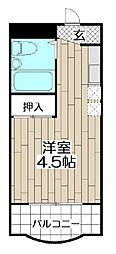 フェリス苅田 4階1Kの間取り