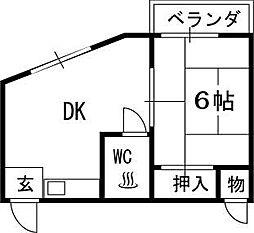 大阪府高槻市安満東の町の賃貸マンションの間取り