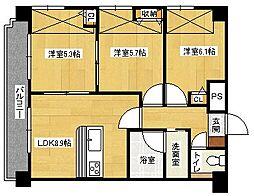 広島県広島市中区大手町3丁目の賃貸マンションの間取り