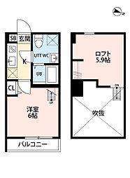 神奈川県平塚市立野町の賃貸アパートの間取り