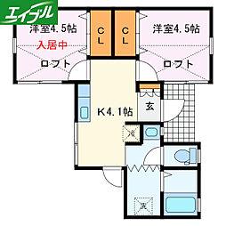 近鉄山田線 宮町駅 徒歩12分の賃貸アパート 1階1Kの間取り