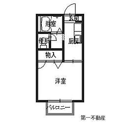 兵庫県西脇市野村町の賃貸アパートの間取り