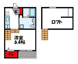 JR香椎線 和白駅 徒歩1分の賃貸アパート 1階ワンルームの間取り