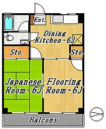 市川第1マンション[4階]の間取り