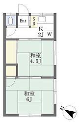 京成本線 お花茶屋駅 徒歩11分の賃貸アパート 2階2Kの間取り