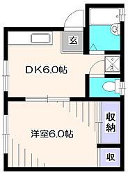 東京都東村山市久米川町4丁目の賃貸アパートの間取り