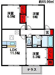 福岡県遠賀郡芦屋町大字芦屋の賃貸アパートの間取り