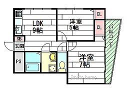 箕面ビル[2階]の間取り