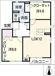 フォーレス虹B棟[1階]の間取り