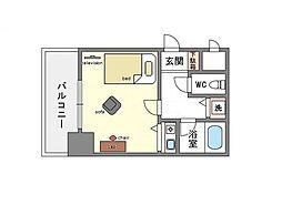 家具・家電付き朝日プラザ博多8[6階]の間取り