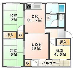 神陵台東住宅48号棟[5階]の間取り