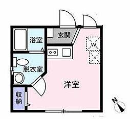 グランパークス早稲田 1階ワンルームの間取り
