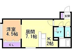 R−FREE真栄21 2階1LDKの間取り
