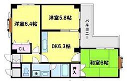 シェトワ桜川[3階]の間取り