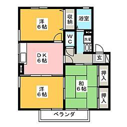 愛知県岡崎市上和田町字ヒソ畑の賃貸アパートの間取り