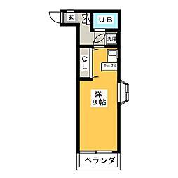 ニュークリアス中大類 4階ワンルームの間取り