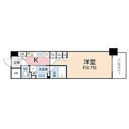 ザ・パークハビオ堂島 5階1Kの間取り