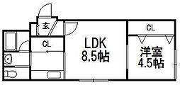 e's東札幌[401号室]の間取り