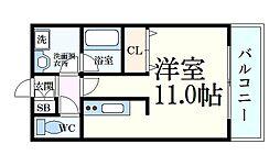 パレス東洋神戸6号館 8階1Kの間取り