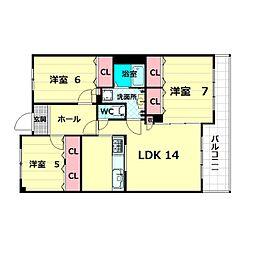 プレミール桃山台[2階]の間取り