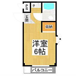AZ12 3階ワンルームの間取り