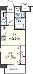 C.P.B.S 7階1DKの間取り