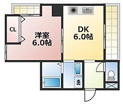 大阪府大阪市生野区巽南5丁目の賃貸マンションの間取り