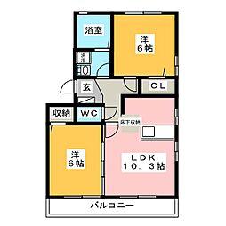 愛知県豊橋市牧野町字北原の賃貸アパートの間取り