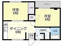 SENSE十三 (旧コーポラス三津屋) 1階2DKの間取り