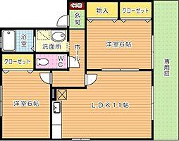 クレール塚の原 B棟[1階]の間取り