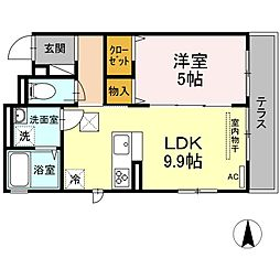 JR横須賀線 新川崎駅 徒歩16分の賃貸アパート 2階1LDKの間取り