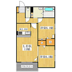 北海道札幌市北区北三十八条西3丁目の賃貸マンションの間取り