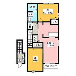 シャルマンパークD[2階]の間取り