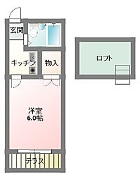 大阪府寝屋川市平池町の賃貸アパートの間取り