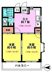 三陽マンション(3F角)[3階]の間取り