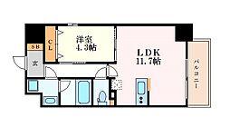 レジデンシア花の木 9階1LDKの間取り