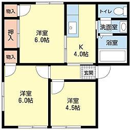 新潟県新潟市東区東明5丁目の賃貸アパートの間取り