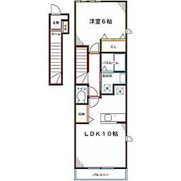 JR中央本線 国立駅 徒歩15分の賃貸アパート 2階1LDKの間取り