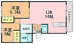 近鉄田原本線 大輪田駅 徒歩10分の賃貸アパート 2階2LDKの間取り