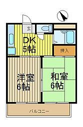 リバーサイド吉川[3階]の間取り