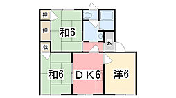 タウニィ新在家B棟[202号室]の間取り