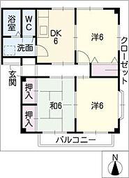 グランデージ御所B棟[2階]の間取り