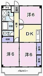 兵庫県加古川市別府町新野辺北町3丁目の賃貸マンションの間取り