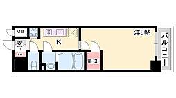 エスリード神戸レジデンス 8階1Kの間取り