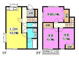 [テラスハウス] 東京都清瀬市中清戸2丁目 の賃貸【東京都 / 清瀬市】の間取り