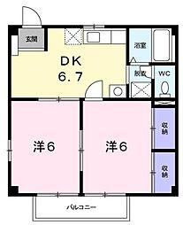 広島県福山市千田町3の賃貸アパートの間取り