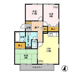 グランメチェII[2階]の間取り